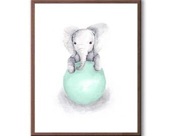 Elephant Wall Decor, Baby Decor, Art For Children, Kids Room Art, Baby Gift, Elephant, Art Print - E389W