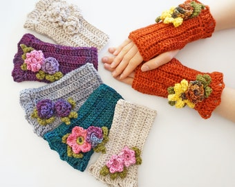 Floral Arm Warmers in various styles & colours to choose from, choose base colour orange, teal, purple, gray or ivory, choose flower combo