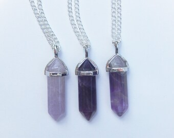 Amethyst Crystal Necklace, Amethyst Necklace, Healing Crystal Necklace, Crystal Point Necklace, Crystal Necklace, Reiki Crystal, Amethyst