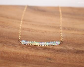 Welo opal etsy welo opal bar necklace welo ethiopian opal jewelry october birthstone minimalist gemstone mozeypictures Gallery
