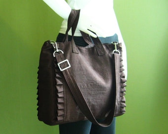 Sale - Chocolate  Brown Nylon Tote, water resistant, purse, ruffles, diaper bag, travel bag - Minnie