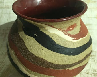 Handmade ceramic vase, Wide Mouth, Swirls, unique, flowers