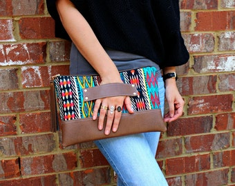 Tribal Bohemian Stripe Clutch / Kindle Case / Hand Handle