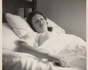 Original Vintage Photograph Snapshot Woman in Bed 1940s-50s