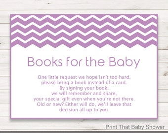 Baby Shower Invitation Insert - Books For Baby - Baby Shower Inserts - Printable Invitation Insert - Books For The Baby Card, Purple Chevron