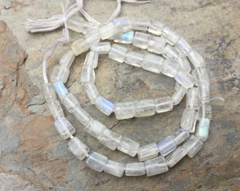 Moonstone Rectangle Beads, Blue Flash, Rainbow Moonstone Rectangle Beads, 4 to 6mm, 14.5 inch strand.