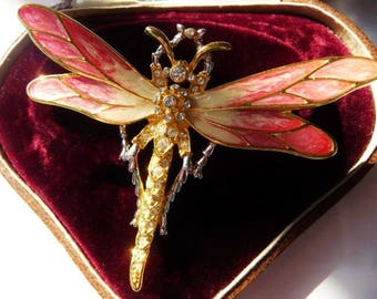 Nolan Miller dragonfly pin brooch | raspberry cream gold | Glamour Collection rare vintage jewelry | Dazzling Dragonfly | 1980s