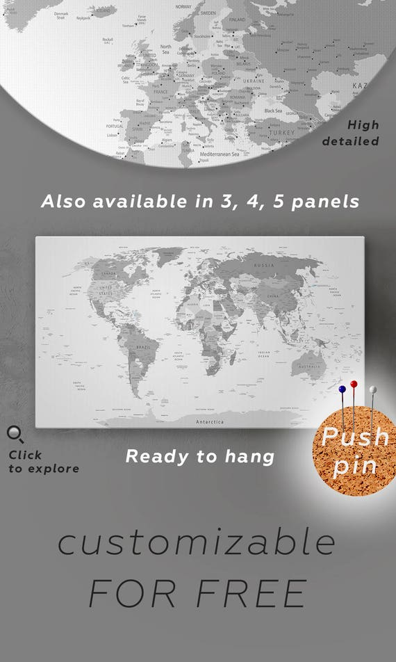 Large gray world map canvas wall art push pin gray travel gumiabroncs Image collections