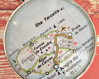 Terceira Map Ornament, FREE SHIPPING, Terceira, 50mm ornament, Ornament Personalized, Azores Map Ornament, Ornament