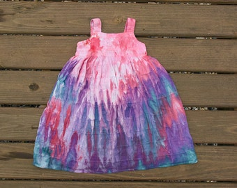 Girls Toddler Dress-Size 5 Years Months-Hand dyed-Cute Dress - Pink Purple Blue Tie Dye Dress