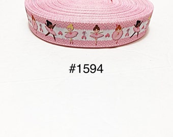 """3 or 5 yard - 7/8"""" Pretty Little Ballerina on White and Pink Grosgrain Ribbon Hair  bow Craft Supply"""