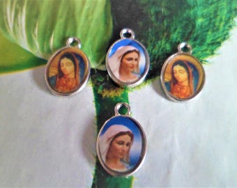 Set of 4 medals Catholic Madonna, Virgin Mary 15 x 10 mm, charms, pendants: 03