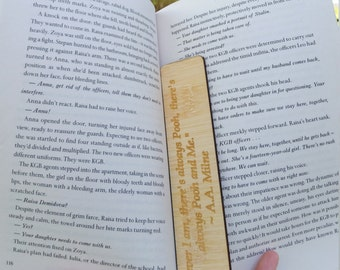 Unique Rustic AA Milne Winnie  the  Pooh Quote Wooden Bookmark