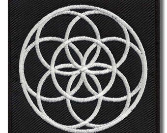 Flower of life - embroidered back patch, 28x28 cm