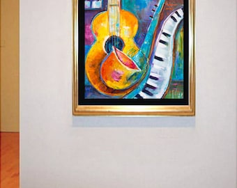 Abstract Original Impasto Texture Oil Painting Music Marlina Vera Fine Art Gallery Guitar Piano Sax Jazz Modern artwork expressionism