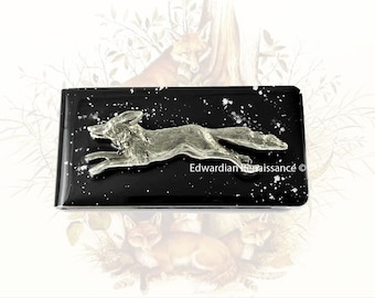 Silver Fox Money Clip Inlaid in Hand Painted Black Onyx Enamel with Silver Splash Retro Woodland Fox w Personalized and Color Options