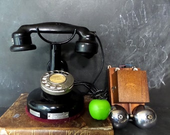 1924 Antique French JAQUESSON Paris Telephone. Vintage Rotary Dial Phone