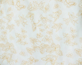 Vintage 70s Gold Yellow Butterfly Print Twin Flat Bed Sheet Bedding Fabric