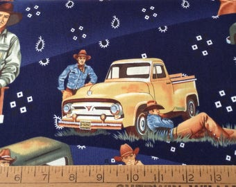 Cowboys and vintage trucks cotton fabric by the yard