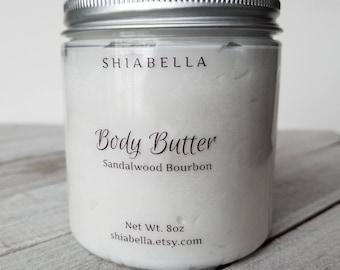 Sandalwood Bourbon Body Butter - 8oz Body Butter - Moisturizing - Skin Care