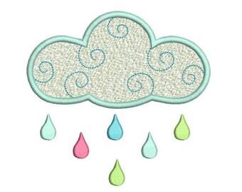 Cloud Machine Embroidery Design, Fill Stitch, Weather Cloud, Cute Cloud Design, Raindrops Embroidery, 3 Sizes, Instant Download, No: SA574-2