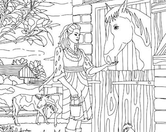 Country Barn - Printable Adult Coloring Page from Favoreads (Coloring book pages for adults and kids Coloring sheets, Coloring designs)