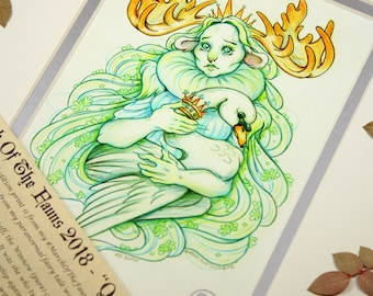 Queen Nema - MarchOfTheFauns 2018 Limited Edition Double Matted Faun Print with Story Scroll