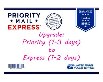 PRIORITY to EXPRESS shipping UPGRADE on an existing order-Only applies to shipping time not production time