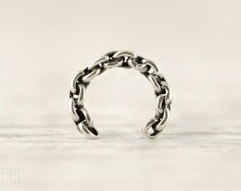 Sterling Silver Ear Cuff Earring Heavy Chain Ear Wrap Earrings Boho Jewelry - ECU008
