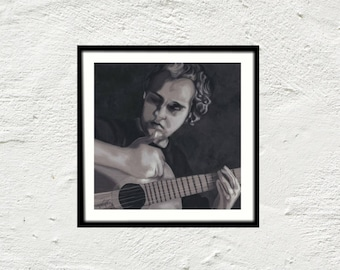 Poster black and white square - print art print - digital painting was man with guitar - guitarist musician