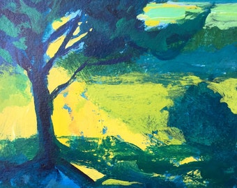 Landscape Painting, woodland, meadow, green, yellow