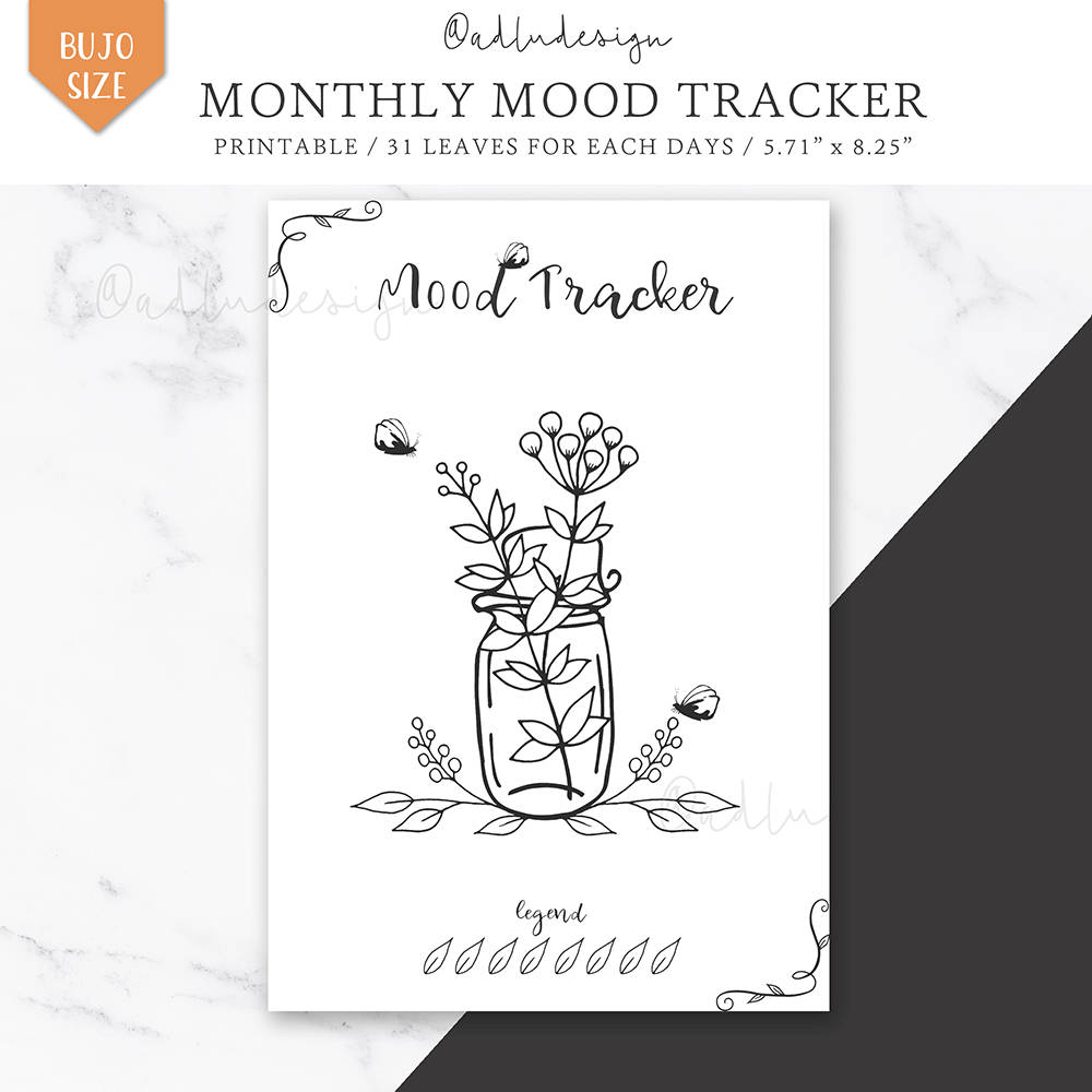 Zany image in bullet journal mood tracker printable
