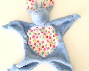 Cute soft blue fleece blanket rabbit