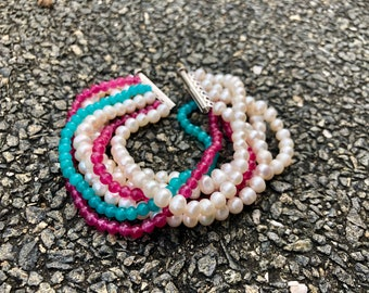 Multistrand Colourful pearl and agate bold statement bracelet - 7 strand pearl bracelet