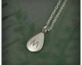 Pear Shaped Initial Pendant~Silver Monogram Pendant~Teardrop Shaped Charm~Personalized Silver Pendant~Hand Stamped Layering Necklace