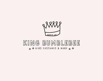 Crown premade logo - Black logo design - Kids shop logo - Children shop logo design - Toy logo - Hand drawn logos - Quirky and cute