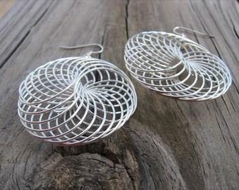 Silver Earrings- Bold- Large Beaded Earrings- BOLD earrings