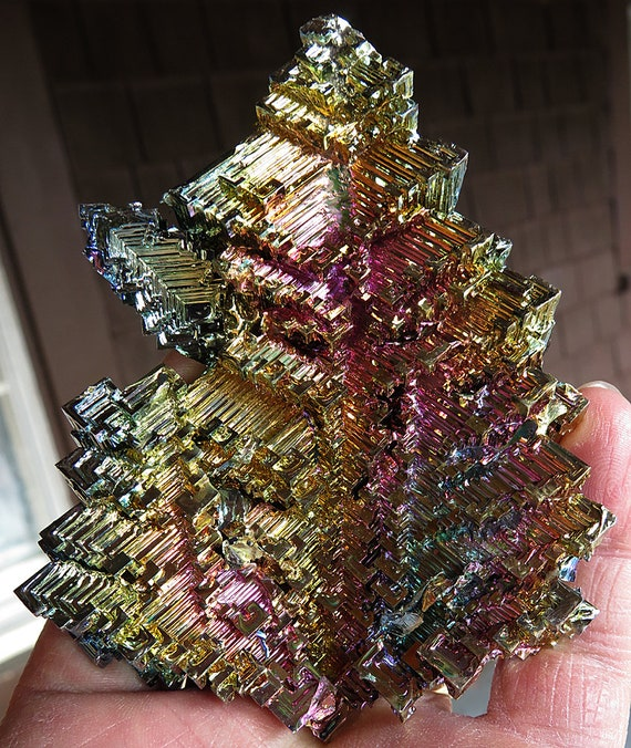 Extra Large Lab Grown Bismuth, Germany. 4.25 by 3.2 inches. 10.4 ounces. A solid piece.