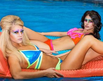 Sporty Bikini in Liquid Aqua and Yellow Lycra, with Crossover Wrap Bikini Top
