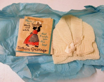 Vintage Infant Knit Sweater with Original Birthday Card   8193