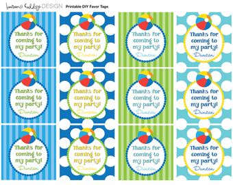 DIY Printable, Beach Ball FAVOR TAGS