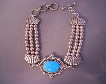 Vintage Sterling Silver Turquoise Toggle Bracelet