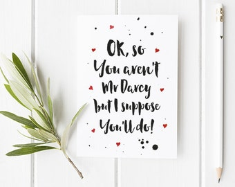 Husband Valentine's Card Pride and Prejudice / Mr Darcy / Pride and Prejudice / Husband Valentine's Card / Boyfriend Valentine's Day Card