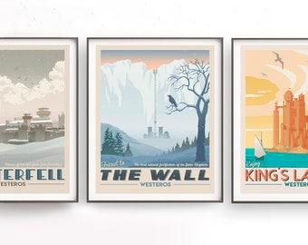 Game of Thrones set. Retro travel poster. Jon Snow. Snowy Winterfell. Moon of my life. Daenerys Targaryen. Westeros art. Winter is coming
