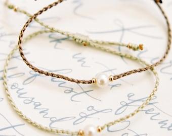 Akoya pearl and gold friendship bracelet