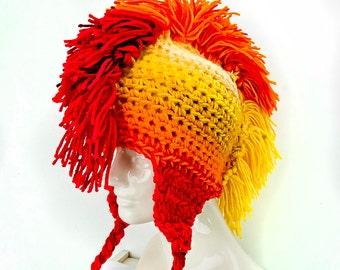 Sun Burst Yellow Orange and Red Fade Mohawk  Ear Flap Hat Handmade Christmas Gift Ready to ship