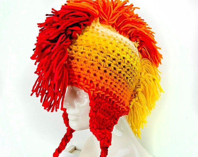 Sun Burst Yellow Orange and Red Fade Mohawk  Ear Flap Hat Handmade Christmas Gift Ready to ship