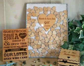 Personalized Wedding Guest book drop box  (Alternate Guestbook) Shadow Box Guest Book, Sign & Heart Box Set 100 guest
