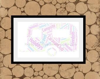 Print for Caravan Owner, Personalised Caravan Print,Caravan Word Cloud,Mobile Home Print,Caravan Word Collage.Caravan Themed Gift.A4 Caravan