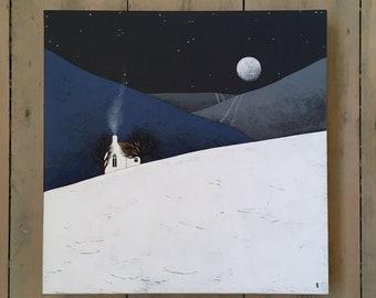 "Moon Rise 3 - Original 12x12"" Winter Night Landscape Painting on Canvas - Contemporary Art - by Natasha Newton"